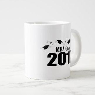 MBA Grad 2017 Caps And Diplomas (Black) Large Coffee Mug