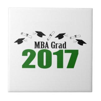 MBA Grad 2017 Caps And Diplomas (Green) Ceramic Tile