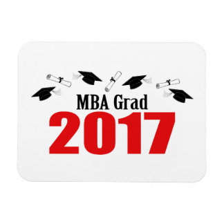 MBA Grad 2017 Caps And Diplomas (Red) Magnet
