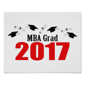 MBA Grad 2017 Caps And Diplomas (Red) Poster