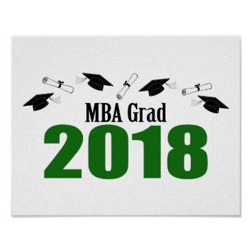 Art Themed MBA Grad 2018 Caps And Diplomas (Green) Poster