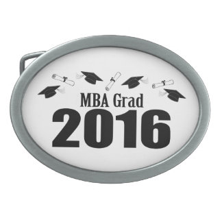 MBA Grad Class Of 2016 Caps And Diplomas (Black) Oval Belt Buckle