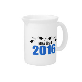 MBA Grad Class Of 2016 Caps And Diplomas (Blue) Beverage Pitcher