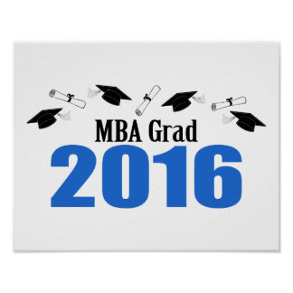 MBA Grad Class Of 2016 Caps And Diplomas (Blue) Poster