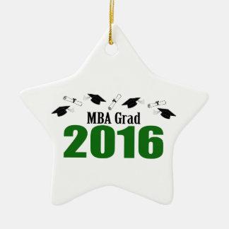 MBA Grad Class Of 2016 Caps And Diplomas (Green) Ceramic Ornament