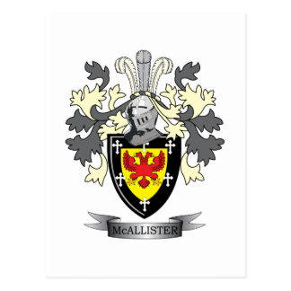 McAllister Family Crest Coat of Arms Postcard