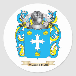 McArthur Coat of Arms Family Crest Round Stickers