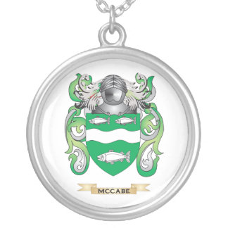 McCabe Coat of Arms (Family Crest) Silver Plated Necklace