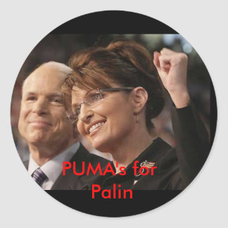 mccain and palin 2, PUMA's for Palin Classic Round Sticker