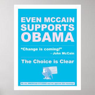 McCain apoya a Obama Póster