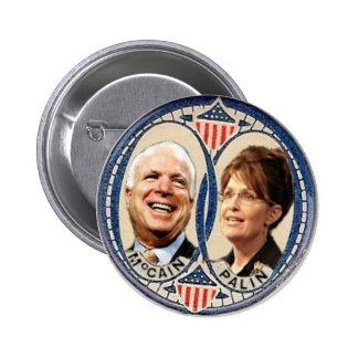 McCain/botón del Retro-Estilo de Palin Pin Redondo De 2 Pulgadas
