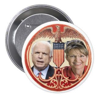 McCain/botón retro de Palin Pin Redondo De 3 Pulgadas