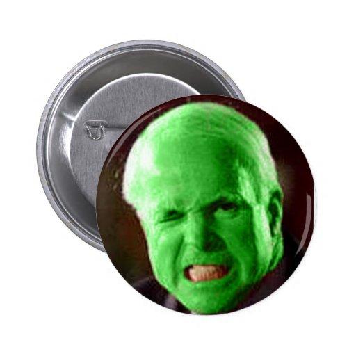 McCain Green Anger Pinback Button
