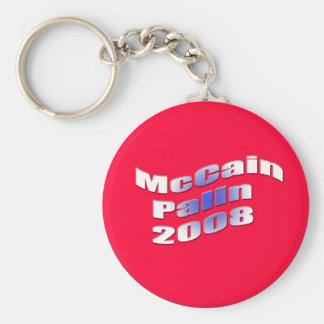 mccain palin 2008 basic round button keychain