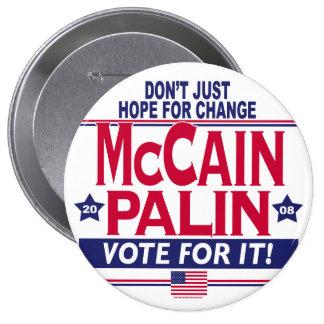 McCain Palin 2008 Pin Redondo De 4 Pulgadas