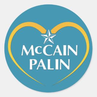 McCain Palin Logo Classic Round Sticker
