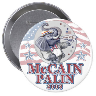 McCain Palin Republican Elephant Button