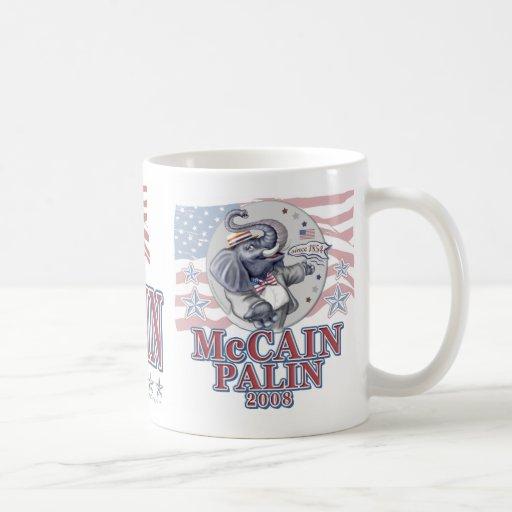 McCain Palin Republican Elephant Classic White Coffee Mug