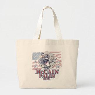 McCain Palin Republican Elephant Large Tote Bag