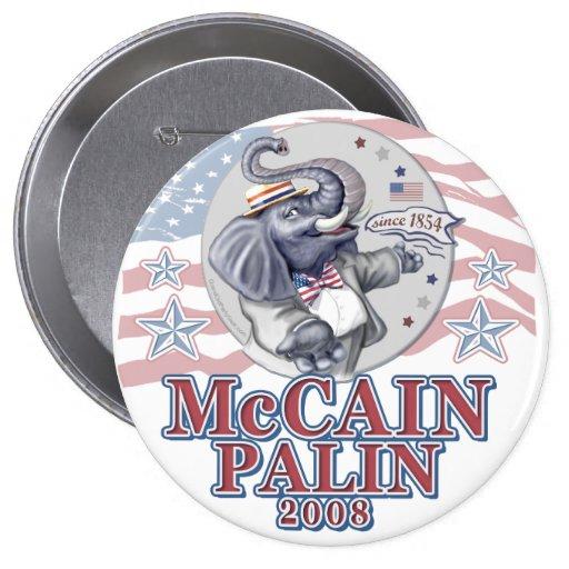 McCain Palin Republican Elephant Pinback Buttons
