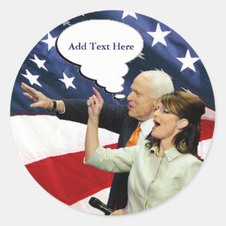 McCain Palin Speaks Classic Round Sticker