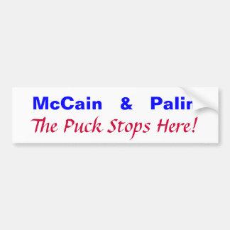 McCain Palin The Puck Stops Here Bumper Sticker
