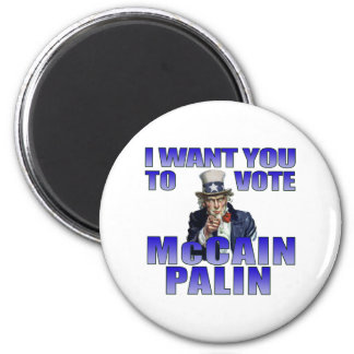 McCain Palin Uncle Sam 2 Inch Round Magnet