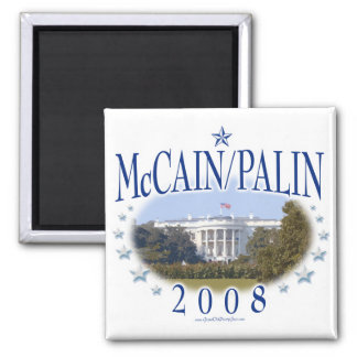 McCain Palin White House 2008 2 Inch Square Magnet