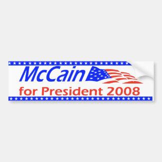 McCain para el presidente 2008 Pegatina Para Auto