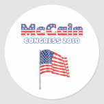 McCain Patriotic American Flag 2010 Elections Round Sticker