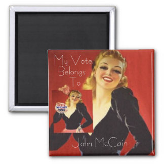 McCain Pinup Square Button 2 Inch Square Magnet