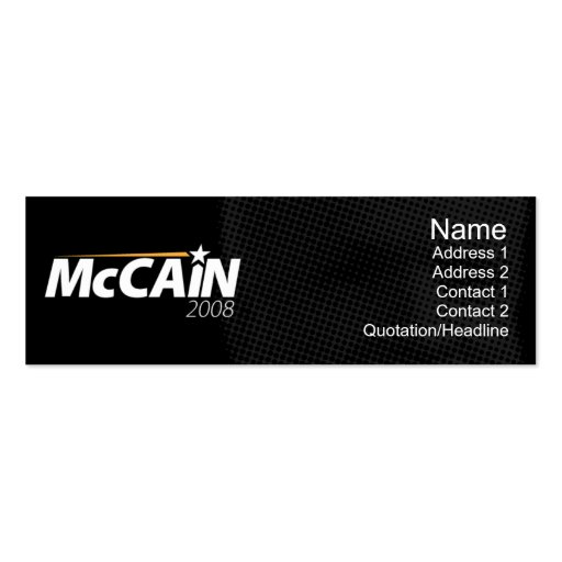 McCain - Skinny Double-Sided Mini Business Cards (Pack Of 20)