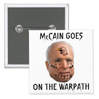 McCAIN VA EN el botón del cuadrado del WARPATH Pin Cuadrado