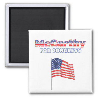 McCarthy for Congress Patriotic American Flag Desi 2 Inch Square Magnet