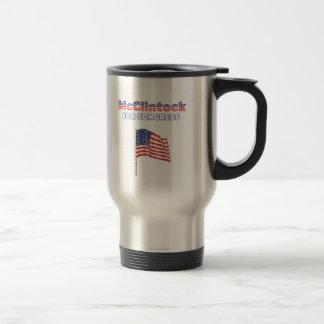 McClintock for Congress Patriotic American Flag De 15 Oz Stainless Steel Travel Mug