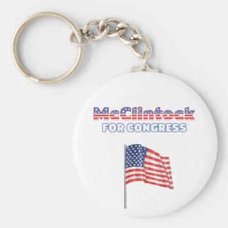 McClintock for Congress Patriotic American Flag De Basic Round Button Keychain