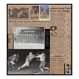 McCook Jr Collage Football 1969 Poster
