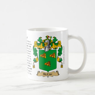 McCue, the Origin, the Meaning and the Crest Coffee Mug