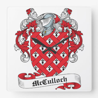 McCulloch Family Crest Square Wallclock