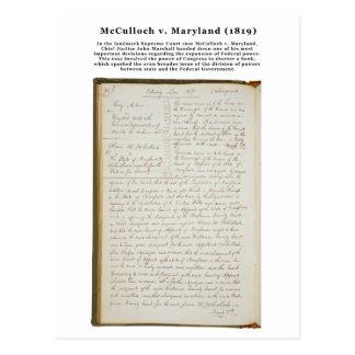 McCulloch v. Maryland, 17 U.S. 316 (1819) Postcard
