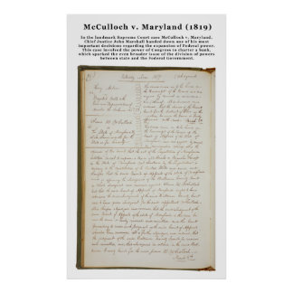 McCulloch v. Maryland, los 17 E.E.U.U. 316 (1819) Póster