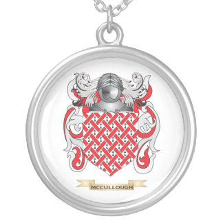 McCullough Coat of Arms (Family Crest) Silver Plated Necklace