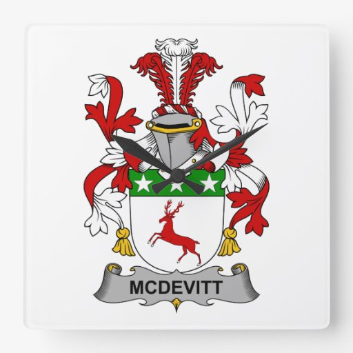 McDevitt Family Crest Square Wall Clock