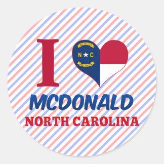 McDonald, Carolina del Norte Pegatina Redonda