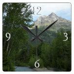 McDonald Creek at Glacier National Park Square Wall Clock