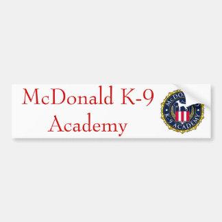 McDonald K-9 Academy Bumper Sticker 01