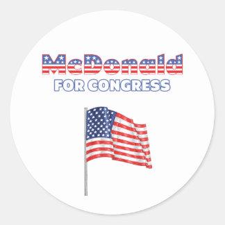 McDonald para la bandera americana patriótica del Pegatina Redonda
