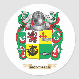 McDonald- Slate Coat of Arms Family Crest Round Stickers