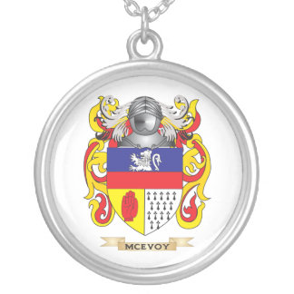 McEvoy Coat of Arms (Family Crest) Round Pendant Necklace