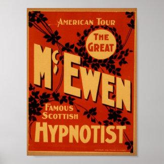 McEwen, 'Hypnotist' Vintage Theater Poster